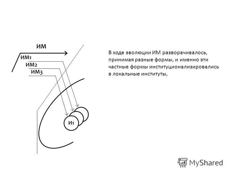 ИМ ИМ1 ИМ2 ИМ3 И1 В ходе эволюции ИМ разворачивалось, принимая разные формы, и именно эти частные формы институционализировались в локальные институты,