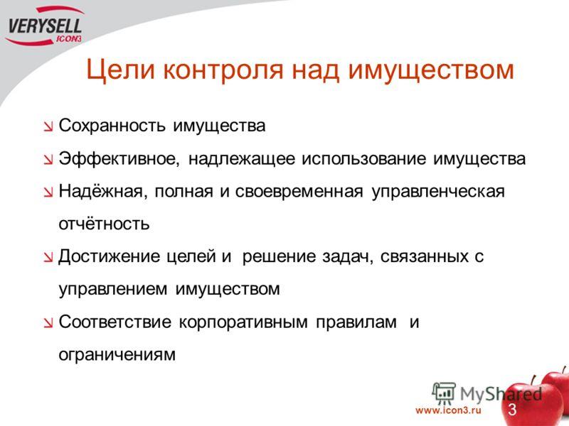 www.icon3.ru 3 Цели контроля над имуществом Сохранность имущества Эффективное, надлежащее использование имущества Надёжная, полная и своевременная управленческая отчётность Достижение целей и решение задач, связанных с управлением имуществом Соответс