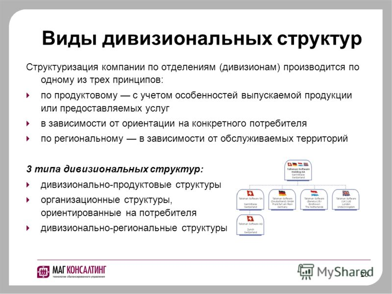 26 Виды дивизиональных структур Структуризация компании по отделениям (дивизионам) производится по одному из трех принципов: по продуктовому с учетом особенностей выпускаемой продукции или предоставляемых услуг в зависимости от ориентации на конкретн