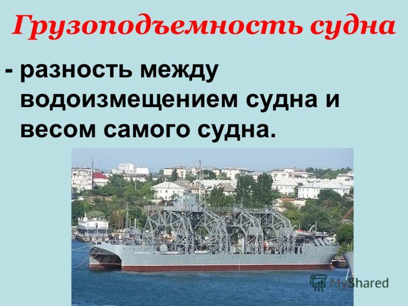 Грузоподъемность судна - разность между водоизмещением судна и весом самого судна.