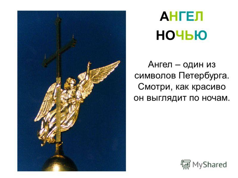 Ангел – один из символов Петербурга. Смотри, как красиво он выглядит по ночам. АНГЕЛ НОЧЬЮ