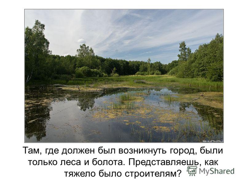 Там, где должен был возникнуть город, были только леса и болота. Представляешь, как тяжело было строителям?