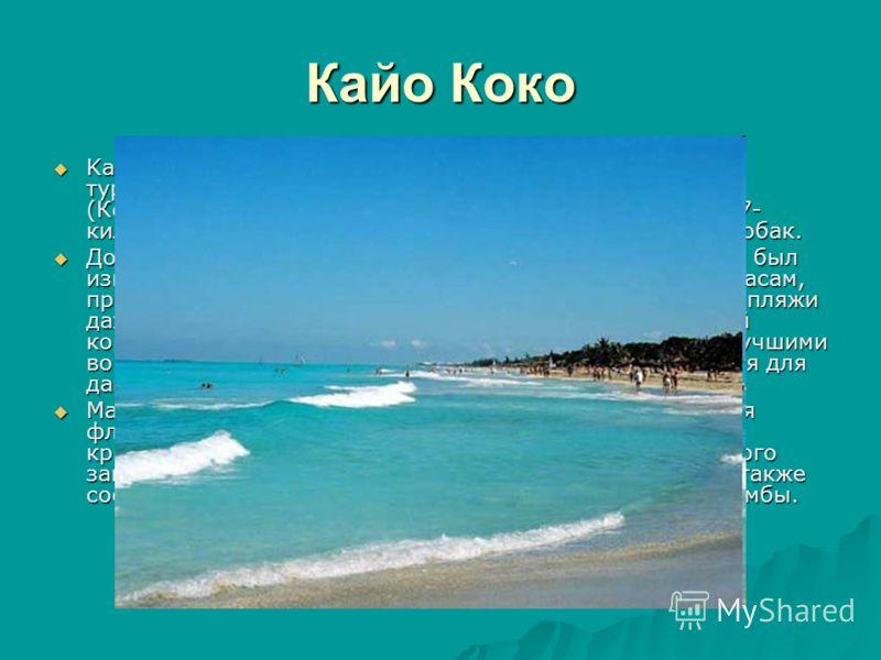 Кайо Коко Kайо Коко четвертый по величине остров Кубы, главный туристический остров архипелага Jardines del Rey (Королевские сады). С главным островом он соединен 17- километровой дорогой-дамбой, проходящей по заливу Собак. Kайо Коко четвертый по вел