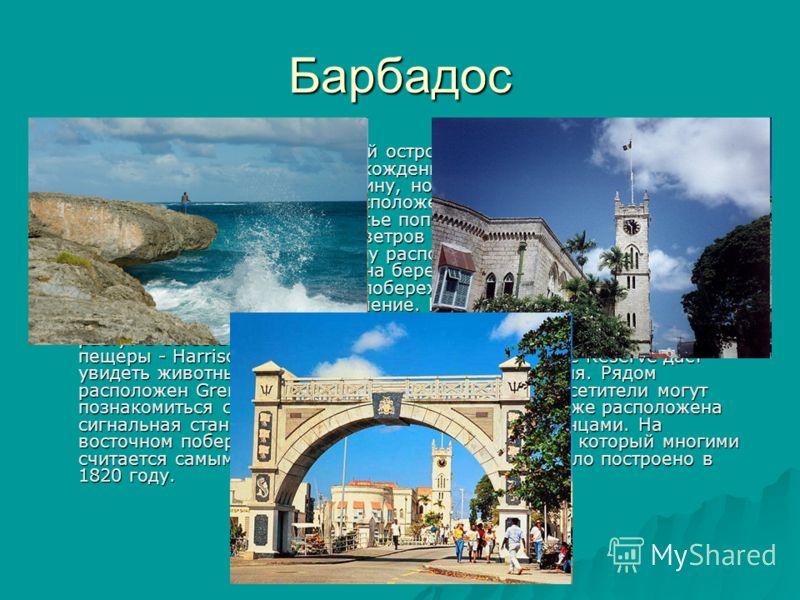 Барбадос Барбадос - это самый восточный остров в цепочке Малых Антильских островов, с коралловым происхождением. Остров занимает всего 21 милю в длину и 14 миль в ширину, но поражает разнообразием ландшафта. Лучшие пляжи расположены на западном побер