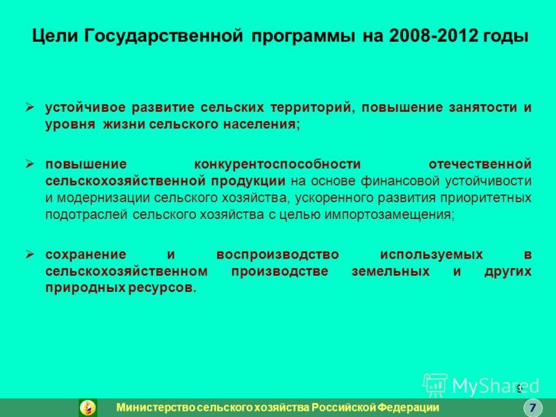 9 Цели Государственной программы на 2008-2012 годы устойчивое развитие сельских территорий, повышение занятости и уровня жизни сельского населения; повышение конкурентоспособности отечественной сельскохозяйственной продукции на основе финансовой усто