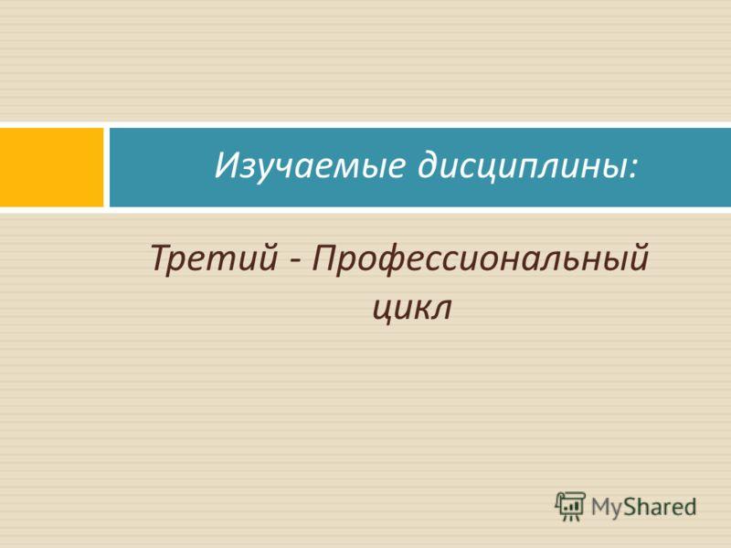 Третий - Профессиональный цикл Изучаемые дисциплины :