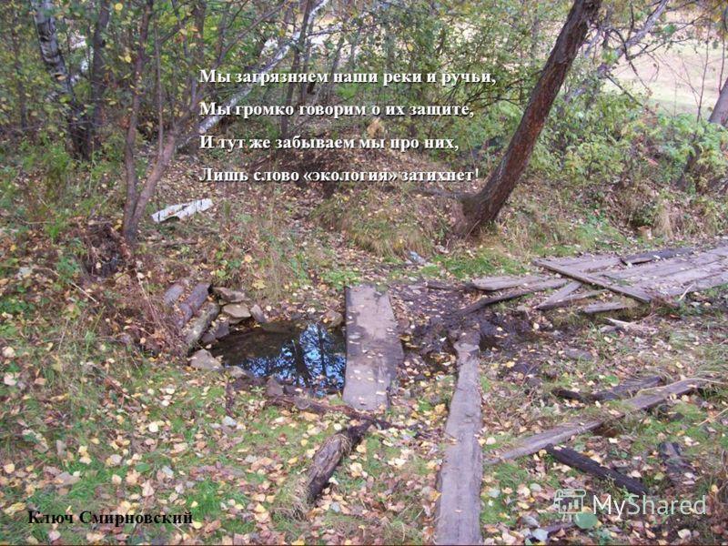 Мы загрязняем наши реки и ручьи, Мы громко говорим о их защите, И тут же забываем мы про них, Лишь слово «экология» затихнет Лишь слово «экология» затихнет! Ключ Смирновский