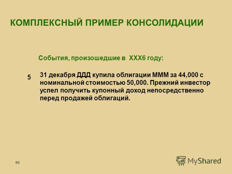 90 31 декабря ДДД купила облигации МММ за 44,000 с номинальной стоимостью 50,000. Прежний инвестор успел получить купонный доход непосредственно перед продажей облигаций. 5 КОМПЛЕКСНЫЙ ПРИМЕР КОНСОЛИДАЦИИ События, произошедшие в ХХХ6 году: