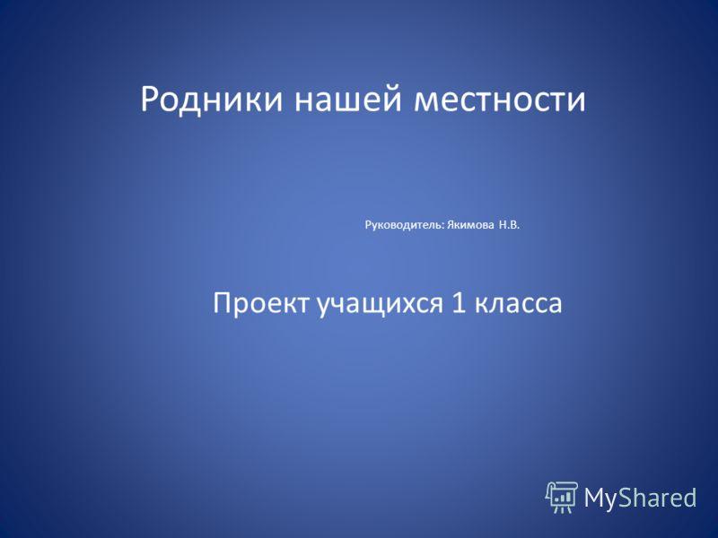 Родники нашей местности Руководитель: Якимова Н.В. Проект учащихся 1 класса