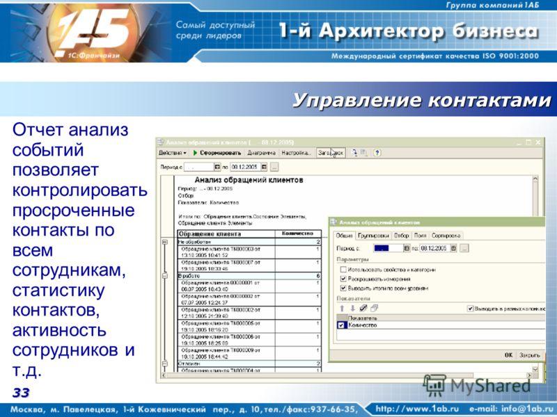 33 Управление контактами Отчет анализ событий позволяет контролировать просроченные контакты по всем сотрудникам, статистику контактов, активность сотрудников и т.д.