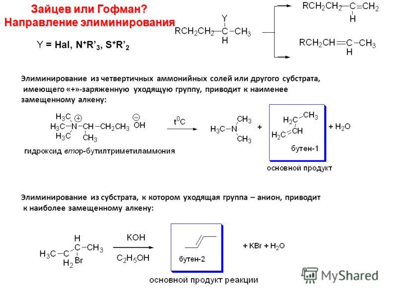 Зайцев или Гофман? Направление элиминирования Y = Hal, N + R 3, S + R 2 Элиминирование из четвертичных аммонийных солей или другого субстрата, имеющего «+»-заряженную уходящую группу, приводит к наименее замещенному алкену: Элиминирование из субстрат