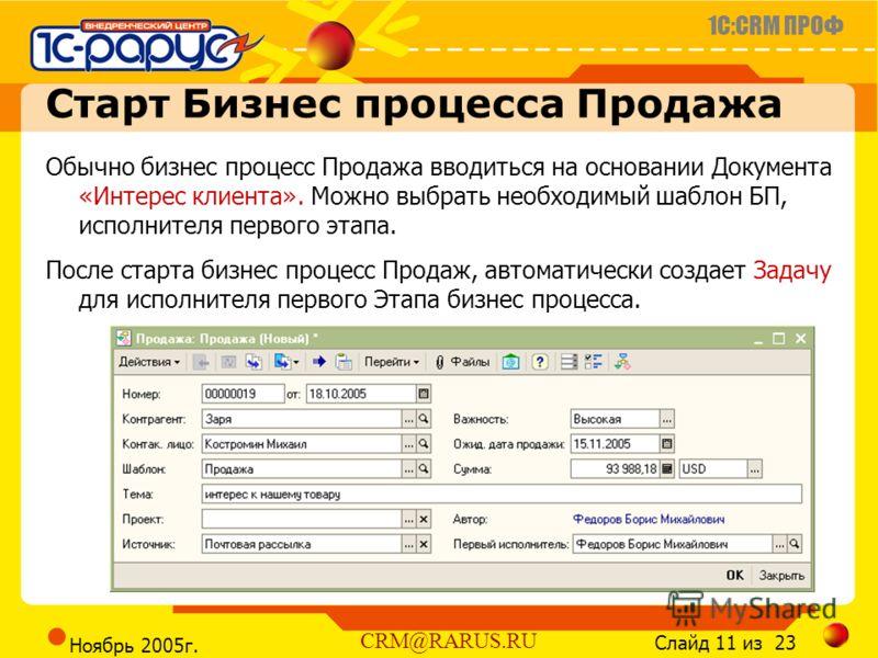 1C:CRM ПРОФ Слайд 11 из 23 CRM@RARUS.RU Ноябрь 2005г. Старт Бизнес процесса Продажа Обычно бизнес процесс Продажа вводиться на основании Документа «Интерес клиента». Можно выбрать необходимый шаблон БП, исполнителя первого этапа. После старта бизнес
