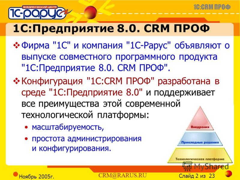 1C:CRM ПРОФ Слайд 2 из 23 CRM@RARUS.RU Ноябрь 2005г. 1С:Предприятие 8.0. CRM ПРОФ Фирма