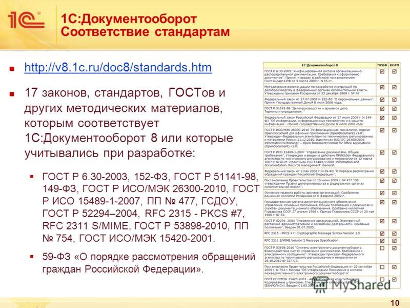 1С:Документооборот Соответствие стандартам http://v8.1c.ru/doc8/standards.htm 17 законов, стандартов, ГОСТов и других методических материалов, которым соответствует 1С:Документооборот 8 или которые учитывались при разработке: ГОСТ Р 6.30-2003, 152-ФЗ