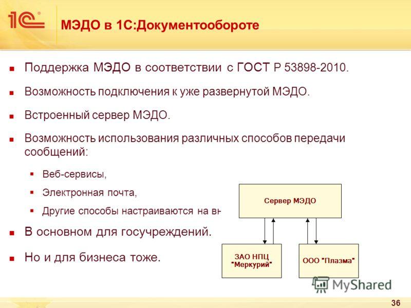 МЭДО в 1С:Документообороте Поддержка МЭДО в соответствии с ГОСТ Р 53898-2010. Возможность подключения к уже развернутой МЭДО. Встроенный сервер МЭДО. Возможность использования различных способов передачи сообщений: Веб-сервисы, Электронная почта, Дру