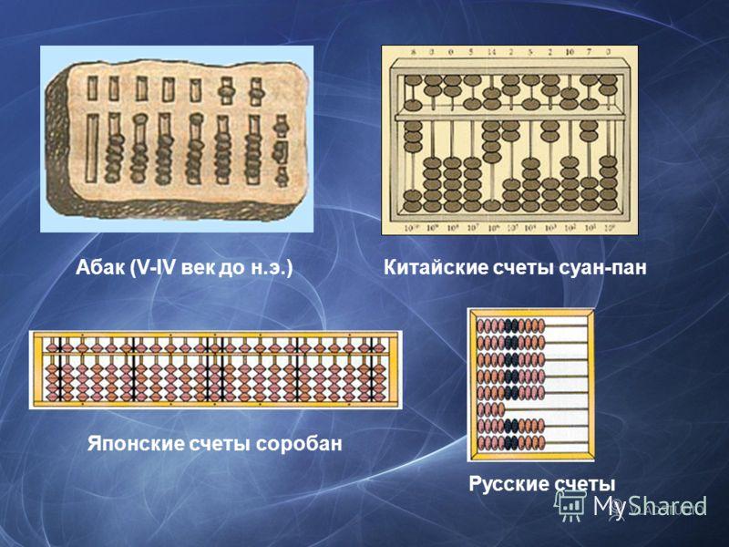 Абак (V-IV век до н.э.)Китайские счеты суан-пан Японские счеты соробан Русские счеты
