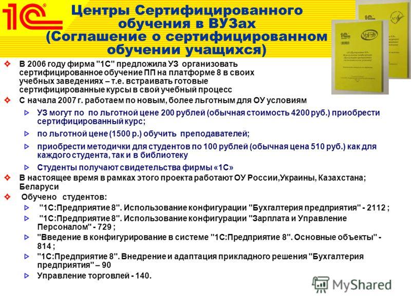 Центры Сертифицированного обучения в ВУЗах (Соглашение о сертифицированном обучении учащихся) В 2006 году фирма