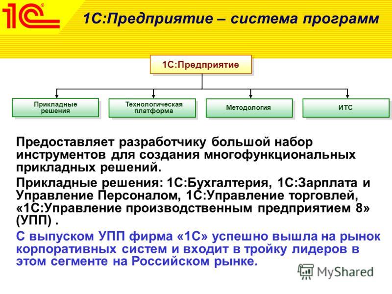 1С:Предприятие – система программ Предоставляет разработчику большой набор инструментов для создания многофункциональных прикладных решений. Прикладные решения: 1С:Бухгалтерия, 1С:Зарплата и Управление Персоналом, 1С:Управление торговлей, «1С:Управле