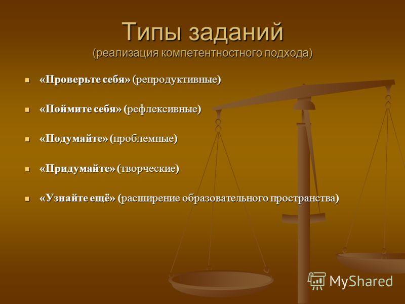 Типы заданий (реализация компетентностного подхода) «Проверьте себя» (репродуктивные) «Проверьте себя» (репродуктивные) «Поймите себя» (рефлексивные) «Поймите себя» (рефлексивные) «Подумайте» (проблемные) «Подумайте» (проблемные) «Придумайте» (творче