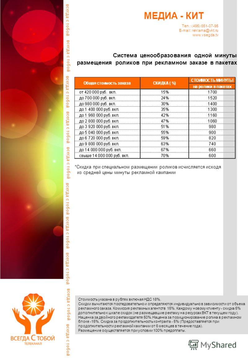 Система ценообразования одной минуты размещения роликов при рекламном заказе в пакетах Стоимость указана в рублях включая НДС 18%. Скидки вычитаются последовательно и определяются индивидуально в зависимости от объема рекламного заказа. Комиссия рекл