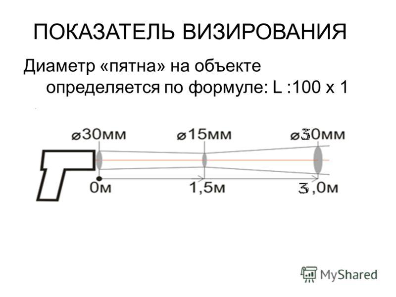 ПОКАЗАТЕЛЬ ВИЗИРОВАНИЯ Диаметр «пятна» на объекте определяется по формуле: L :100 х 1