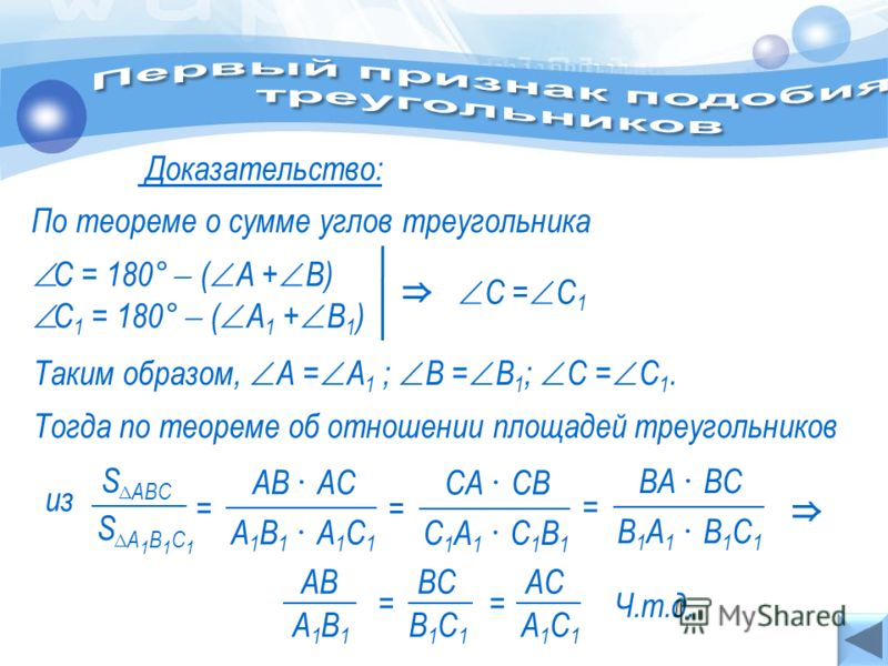 Доказательство: По теореме о сумме углов треугольника Тогда по теореме об отношении площадей треугольников С = 180° ( А + В) С 1 = 180° ( А 1 + В 1 ) С = С 1 Таким образом, А = А 1 ; В = В 1 ; С = С 1. S А 1 В 1 С 1 S АВС А1В1 А1С1А1В1 А1С1 = АВ АС С