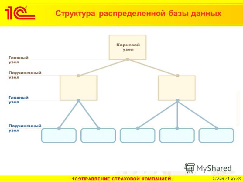 1C:УПРАВЛЕНИЕ СТРАХОВОЙ КОМПАНИЕЙ Слайд 21 из 28 Структура распределенной базы данных