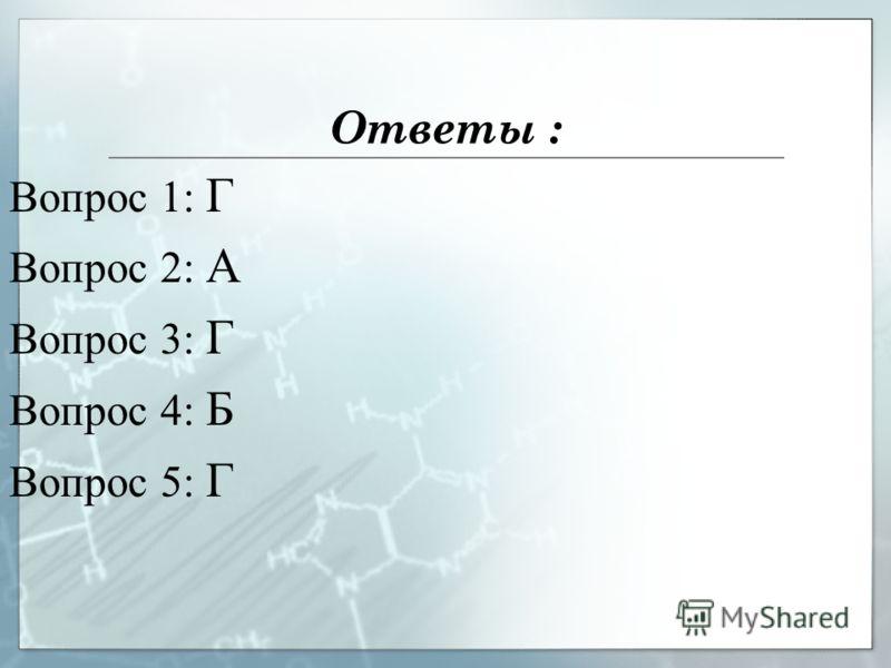 Ответы : Вопрос 1: Г Вопрос 2: А Вопрос 3: Г Вопрос 4: Б Вопрос 5: Г