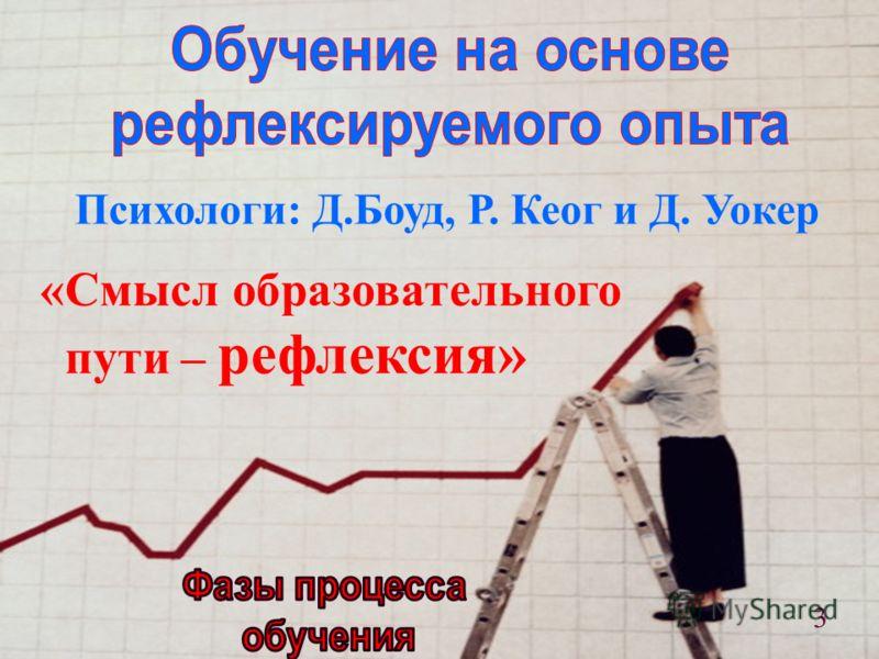 Психологи: Д.Боуд, Р. Кеог и Д. Уокер «Смысл образовательного пути – рефлексия» 3