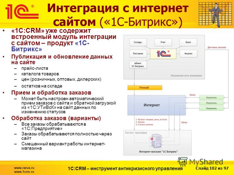 Слайд 102 из 97 www.rarus.ru www.1crm.ru 1С:CRM – инструмент антикризисного управления Интеграция с интернет сайтом («1С-Битрикс») «1С:CRM» уже содержит встроенный модуль интеграции с сайтом – продукт «1C- Битрикс» Публикация и обновление данных на с