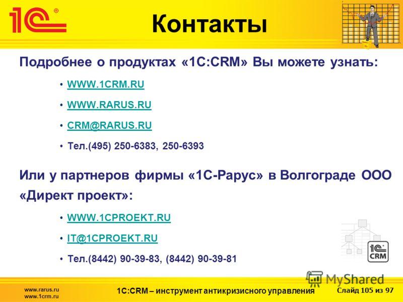 Слайд 105 из 97 www.rarus.ru www.1crm.ru 1С:CRM – инструмент антикризисного управления Подробнее о продуктах «1С:CRM» Вы можете узнать: WWW.1CRM.RU WWW.RARUS.RU CRM@RARUS.RU Тел.(495) 250-6383, 250-6393 Или у партнеров фирмы «1С-Рарус» в Волгограде О
