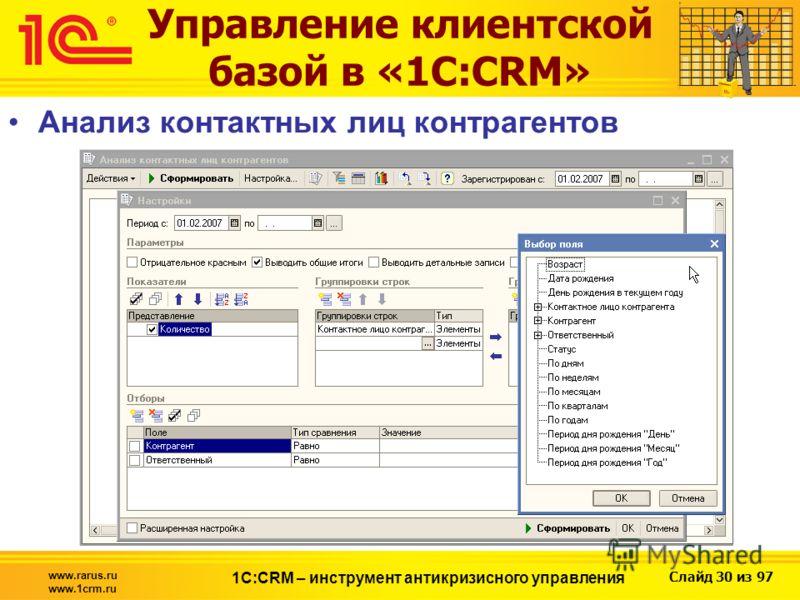 Слайд 30 из 97 www.rarus.ru www.1crm.ru 1С:CRM – инструмент антикризисного управления Управление клиентской базой в «1С:CRM» Анализ контактных лиц контрагентов