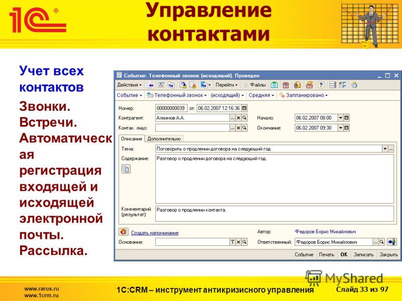 Слайд 33 из 97 www.rarus.ru www.1crm.ru 1С:CRM – инструмент антикризисного управления Управление контактами Учет всех контактов Звонки. Встречи. Автоматическ ая регистрация входящей и исходящей электронной почты. Рассылка.