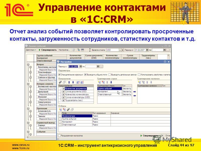 Слайд 44 из 97 www.rarus.ru www.1crm.ru 1С:CRM – инструмент антикризисного управления Управление контактами в «1С:CRM» Отчет анализ событий позволяет контролировать просроченные контакты, загруженность сотрудников, статистику контактов и т.д.