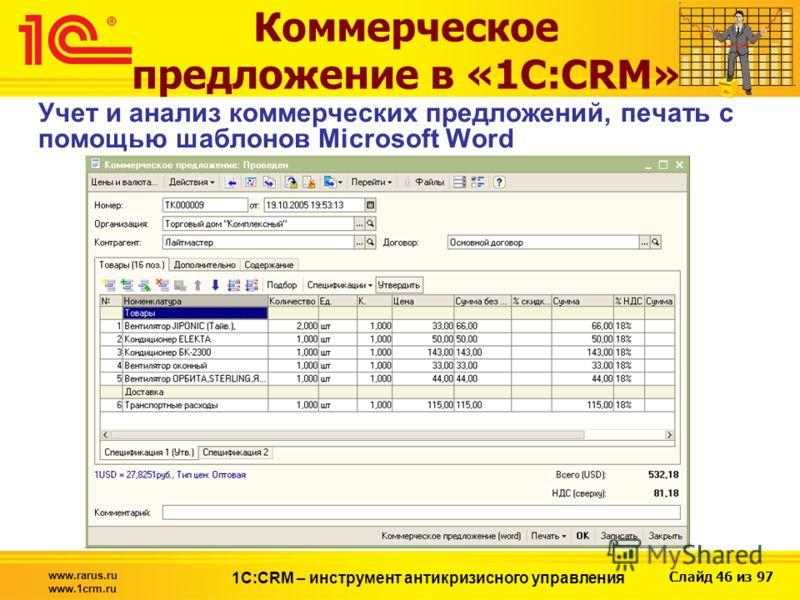 Слайд 46 из 97 www.rarus.ru www.1crm.ru 1С:CRM – инструмент антикризисного управления Коммерческое предложение в «1С:CRM» Учет и анализ коммерческих предложений, печать с помощью шаблонов Microsoft Word