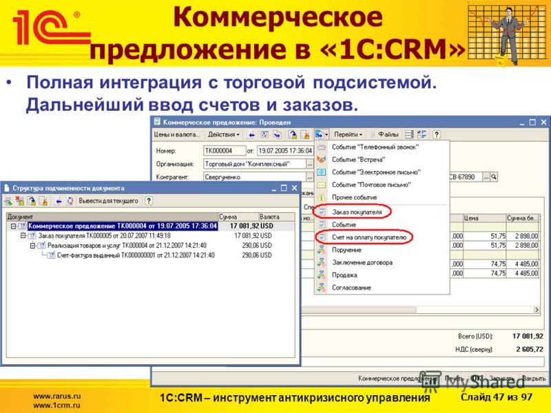 Слайд 47 из 97 www.rarus.ru www.1crm.ru 1С:CRM – инструмент антикризисного управления Коммерческое предложение в «1С:CRM» Полная интеграция с торговой подсистемой. Дальнейший ввод счетов и заказов.