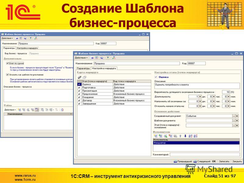 Слайд 51 из 97 www.rarus.ru www.1crm.ru 1С:CRM – инструмент антикризисного управления Создание Шаблона бизнес-процесса