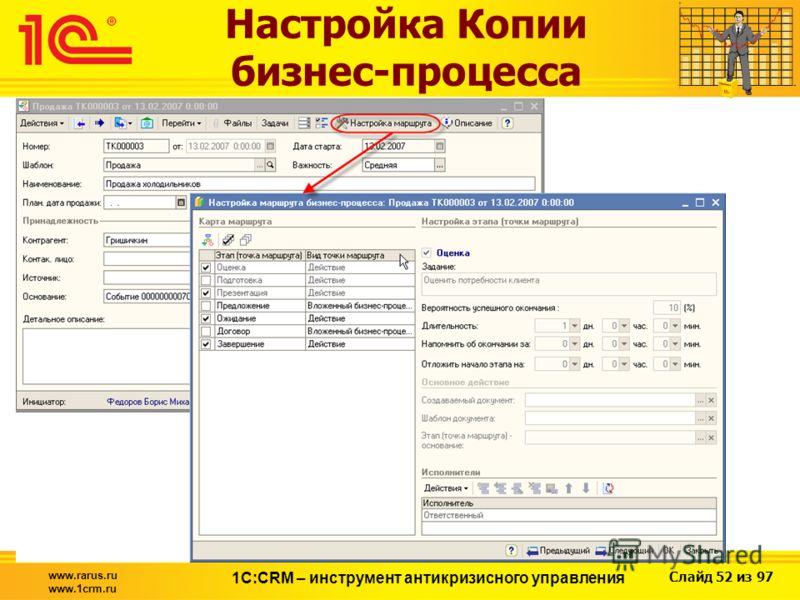 Слайд 52 из 97 www.rarus.ru www.1crm.ru 1С:CRM – инструмент антикризисного управления Настройка Копии бизнес-процесса