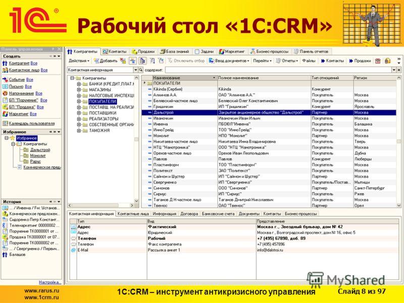 Слайд 8 из 97 www.rarus.ru www.1crm.ru 1С:CRM – инструмент антикризисного управления Рабочий стол «1С:CRM»