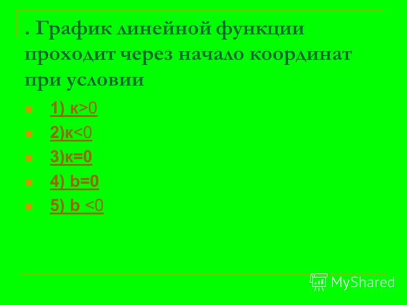 . График линейной функции проходит через начало координат при условии 1) к>0 1) к>0 2)к