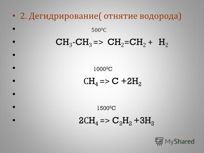 2. Д егидрирование ( о тнятие в одорода ) 500 0 С CH 3 -CH 3 => CH 2 =CH 2 + H 2 1000 0 C С H 4 => C +2H 2 1500 0 C 2 С H 4 => C 2 H 2 +3H 2