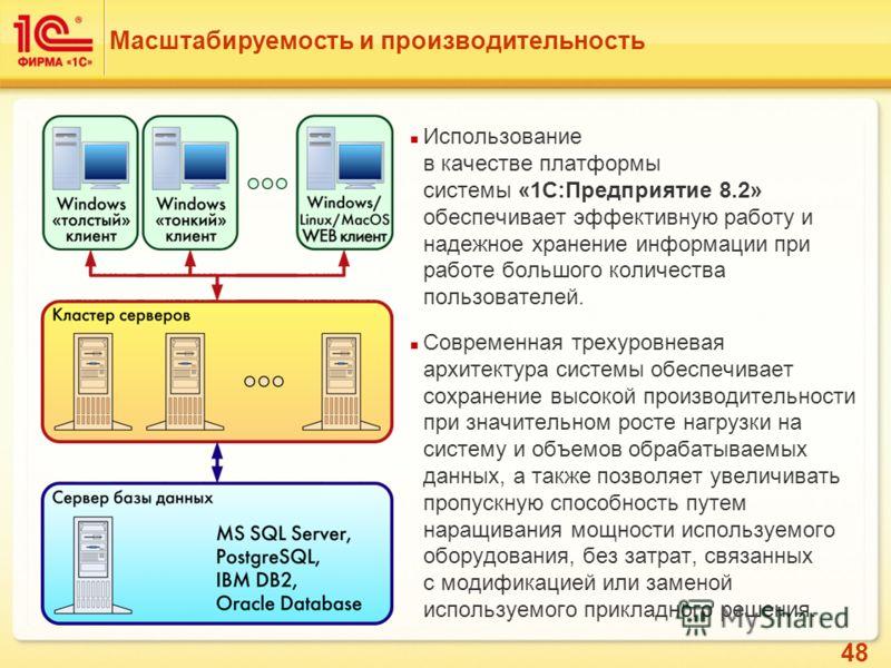 48 Масштабируемость и производительность Использование в качестве платформы системы «1С:Предприятие 8.2» обеспечивает эффективную работу и надежное хранение информации при работе большого количества пользователей. Современная трехуровневая архитектур