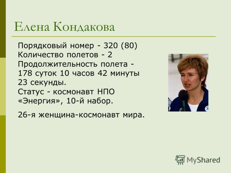 Елена Кондакова Порядковый номер - 320 (80) Количество полетов - 2 Продолжительность полета - 178 суток 10 часов 42 минуты 23 секунды. Статус - космонавт НПО «Энергия», 10-й набор. 26-я женщина-космонавт мира.