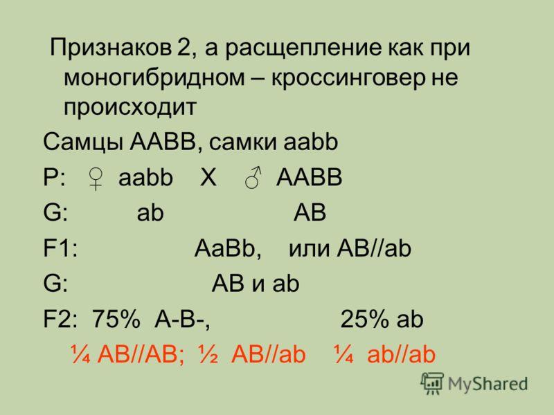 Признаков 2, а расщепление как при моногибридном – кроссинговер не происходит Самцы AABB, самки aabb Р: aabb Х AABB G: ab AB F1: AaBb, или AB//ab G: AB и ab F2: 75% A-B-, 25% ab ¼ AB//AB; ½ AB//ab ¼ ab//ab