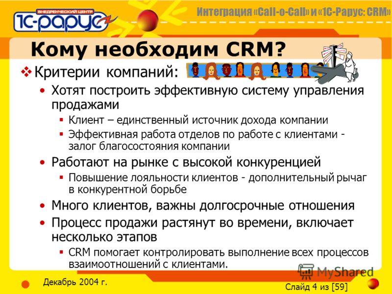 Интеграция «Call-o-Call» и «1С-Рарус: CRM» Слайд 4 из [59] Декабрь 2004 г. Кому необходим CRM? Критерии компаний: Хотят построить эффективную систему управления продажами Клиент – единственный источник дохода компании Эффективная работа отделов по ра