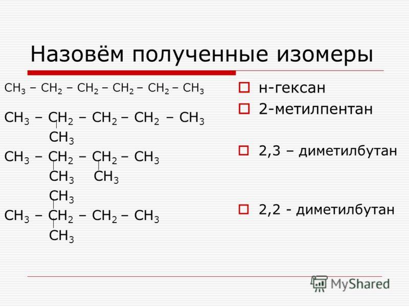 Назовём полученные изомеры СН 3 – СН 2 – СН 2 – СН 2 – СН 2 – СН 3 СН 3 – СН 2 – СН 2 – СН 2 – СН 3 СН 3 СН 3 – СН 2 – СН 2 – СН 3 СН 3 СН 3 СН 3 СН 3 – СН 2 – СН 2 – СН 3 СН 3 н-гексан 2-метилпентан 2,3 – диметилбутан 2,2 - диметилбутан