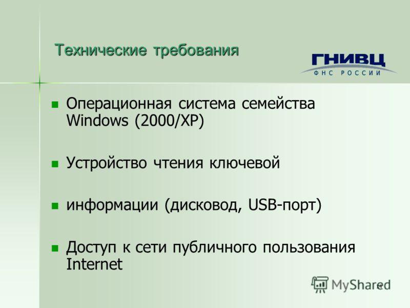 14 Технические требования Операционная система семейства Windows (2000/XP) Устройство чтения ключевой информации (дисковод, USB-порт) Доступ к сети публичного пользования Internet