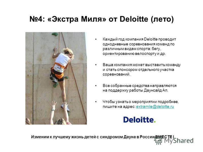 4: «Экстра Миля» от Deloitte (лето) Каждый год компания Deloitte проводит однодневные соревнования команд по различным видам спорта: бегу, ориентированию велоспорту и др. Ваша компания может выставить команду и стать спонсором отдельного участка соре