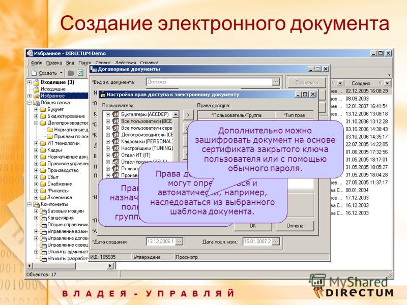 Создание электронного документа В Л А Д Е Я - У П Р А В Л Я Й Права доступа можно назначить как конкретным пользователям, так и группам пользователей. Права доступа на документ могут определяться и автоматически, например, наследоваться из выбранного
