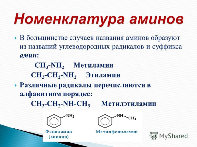 В большинстве случаев названия аминов образуют из названий углеводородных радикалов и суффикса амин: CH 3 -NH 2 Метиламин CH 3 -CH 2 -NH 2 Этиламин Различные радикалы перечисляются в алфавитном порядке: CH 3 -CH 2 -NH-CH 3 Метилэтиламин